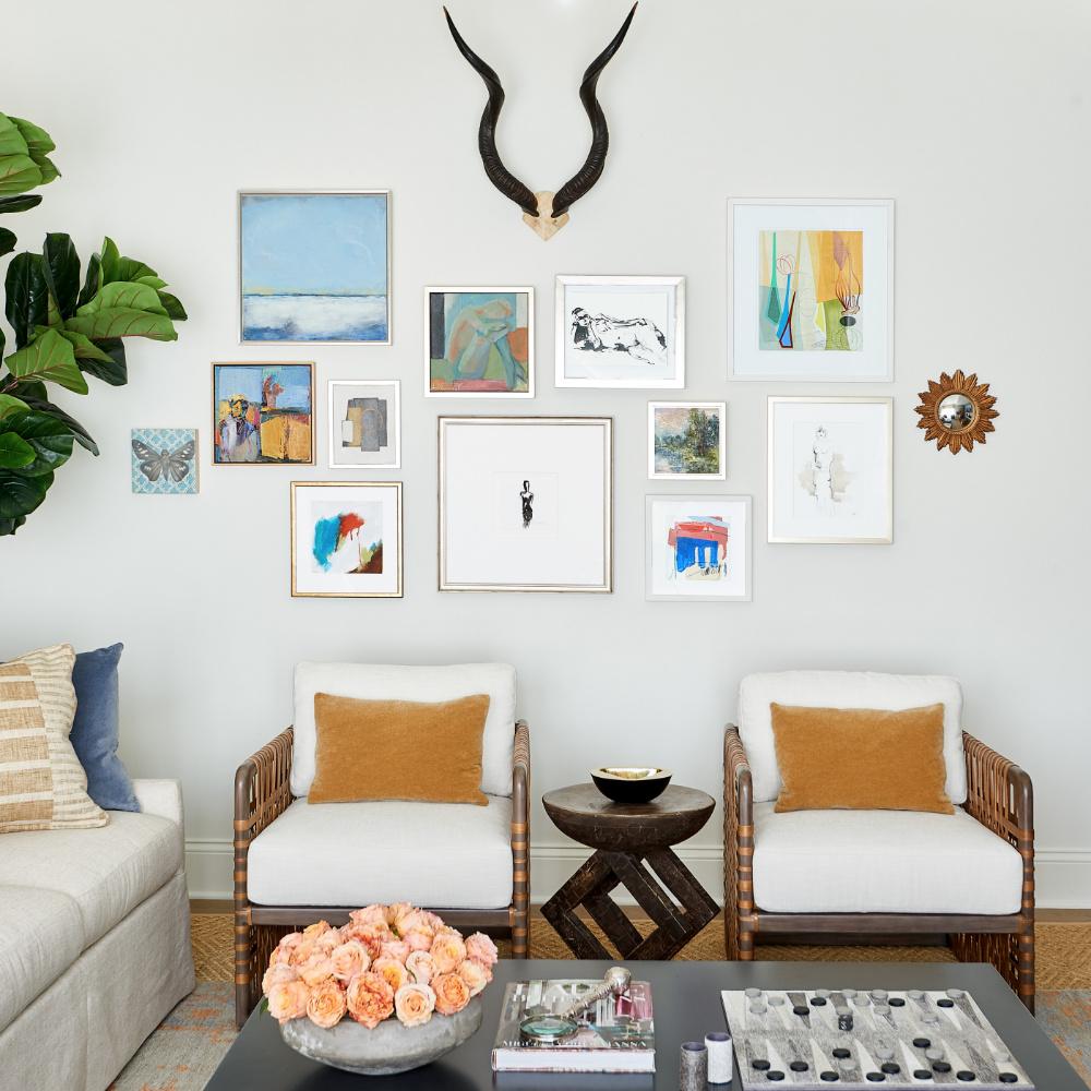 anne buresh interior design gallery wall antlers