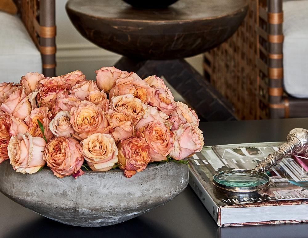 interior design showroom pink orange roses anne buresh
